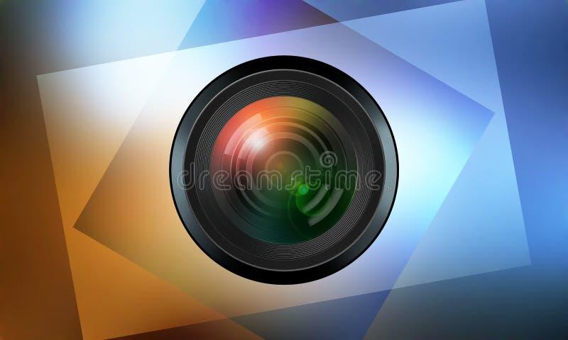 Fotografisk lins på färgbakgrund stock illustrationer