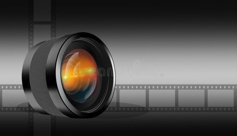 Fotografisk lins på mörk bakgrund vektor illustrationer