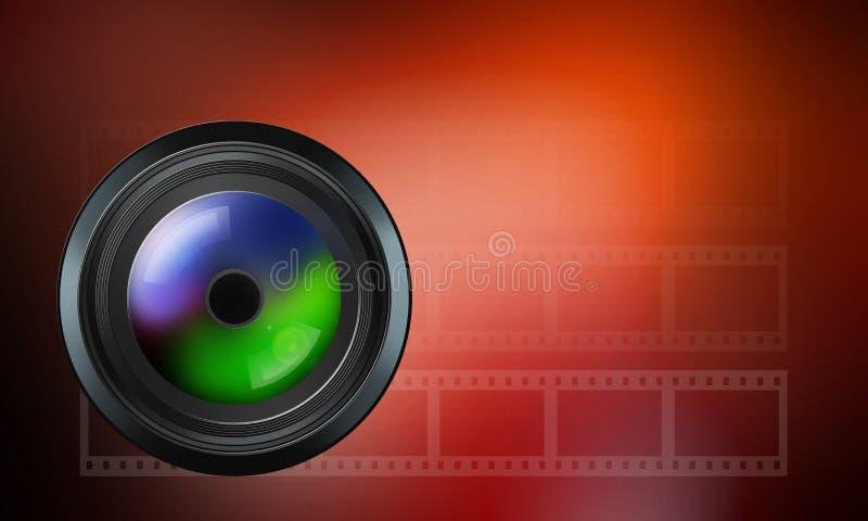 Fotografisk lins på röd bakgrund vektor illustrationer