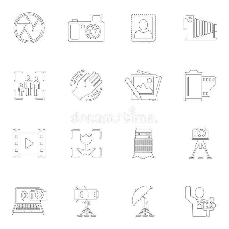 Fotografisymbolsöversikt stock illustrationer