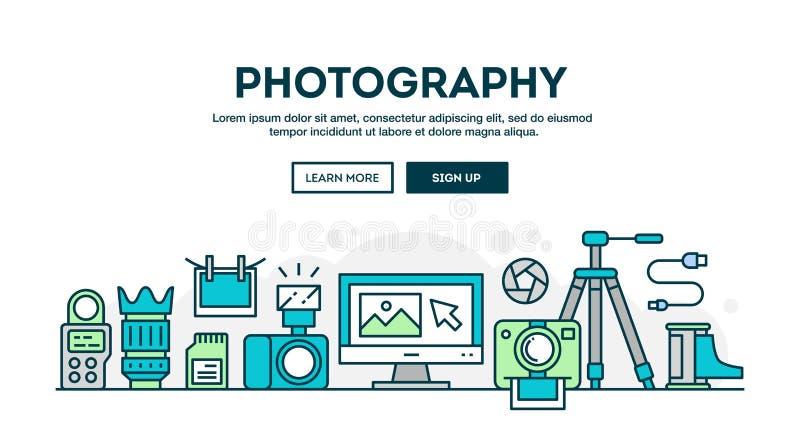 Fotografiutrustning, den färgrika begreppstitelraden, lägenhetdesign gör tunnare royaltyfri illustrationer