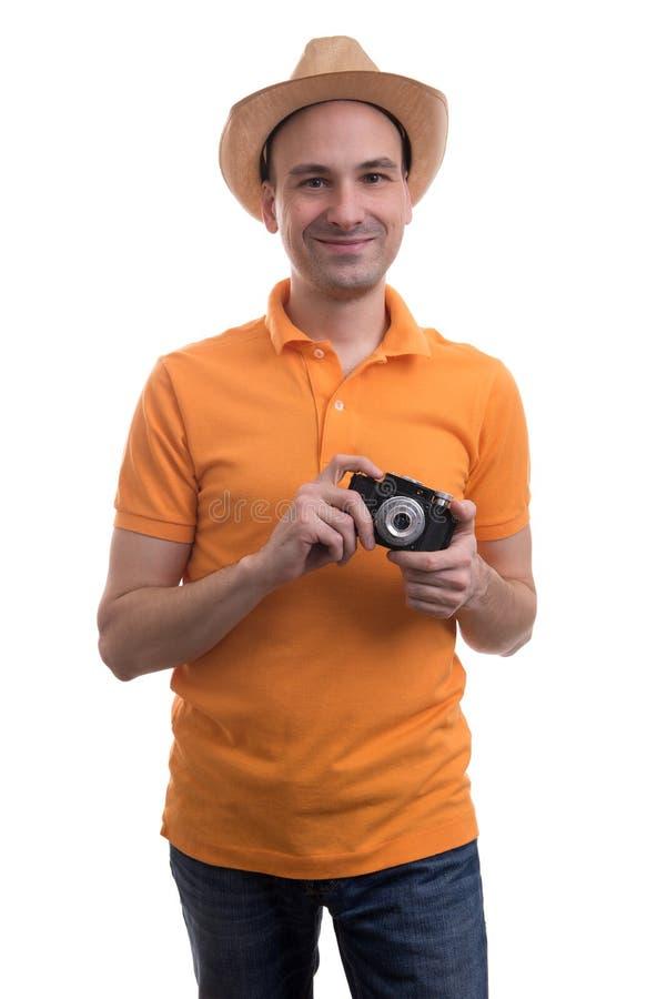 Fotografo con la retro macchina fotografica immagini stock