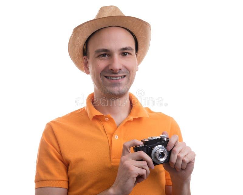 Fotografo con la retro macchina fotografica immagini stock libere da diritti