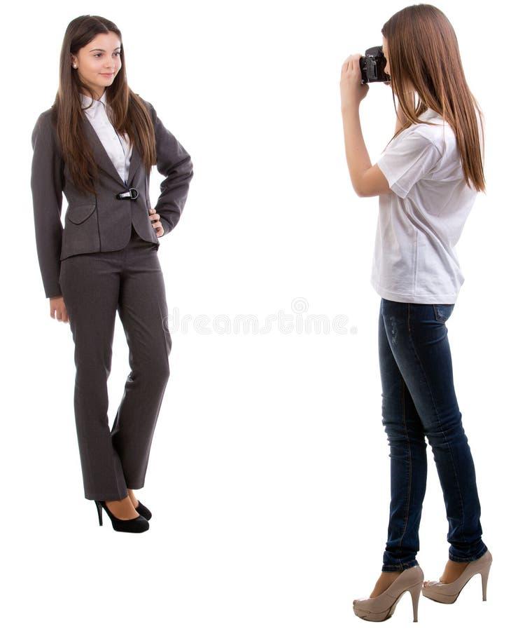 Fotografo con un modello. fotografia stock