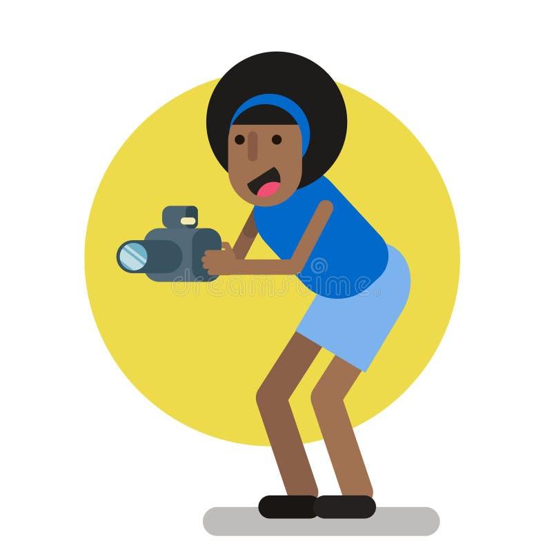 Fotografo creativo della ragazza di afro che sta integrale Illustrazione piana illustrazione di stock