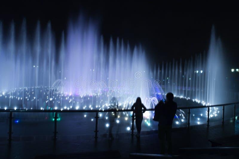 Fotografo della gente di notte della fontana immagini stock
