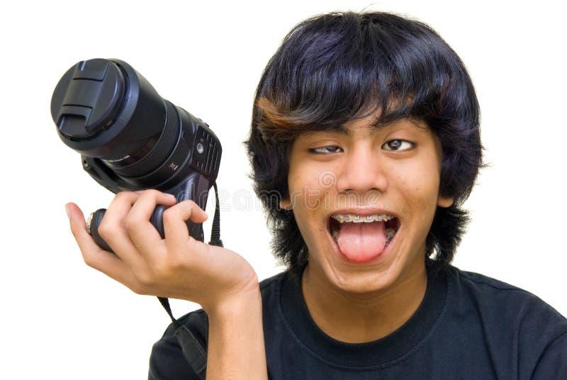 Fotografo divertente pazzesco immagini stock libere da diritti