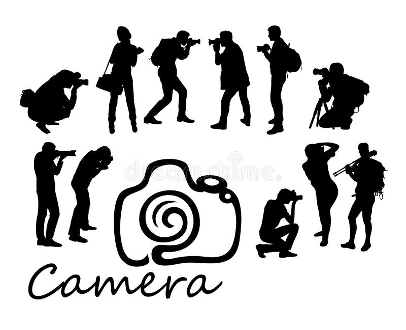 Fotografo Hunting Activity Silhouettes, progettazione di vettore di arte royalty illustrazione gratis