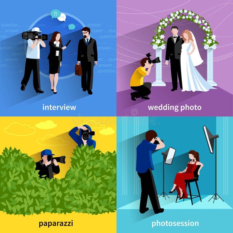 Fotografo Icons Set illustrazione di stock