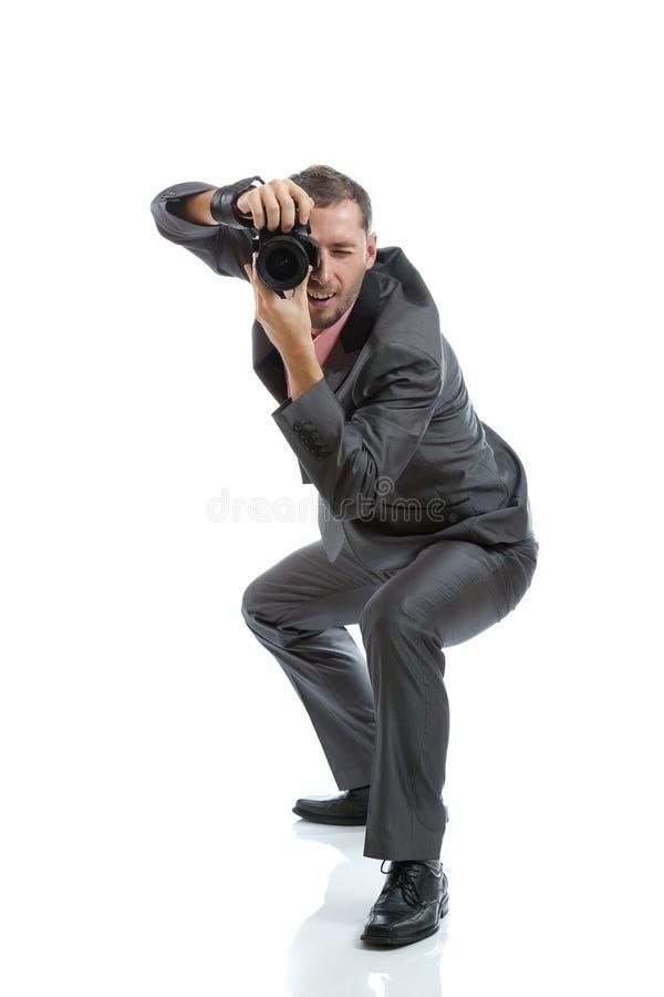 Fotografo integrale del legame del vestito con la macchina fotografica fotografia stock libera da diritti