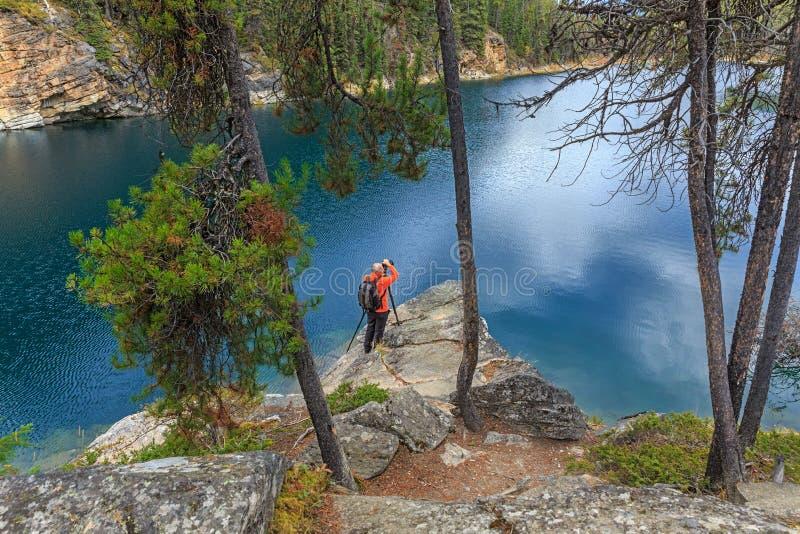 Fotografo nel lago a ferro di cavallo immagine stock libera da diritti