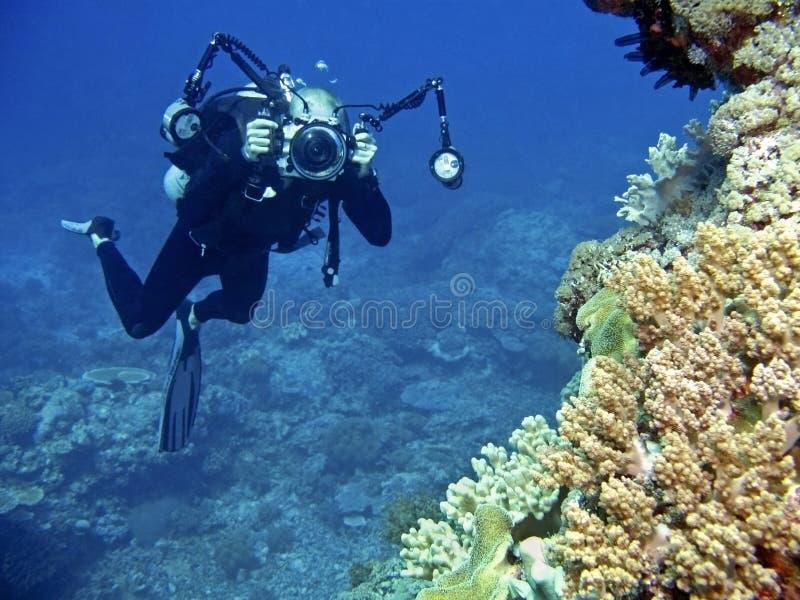 Fotografo subacqueo fotografie stock