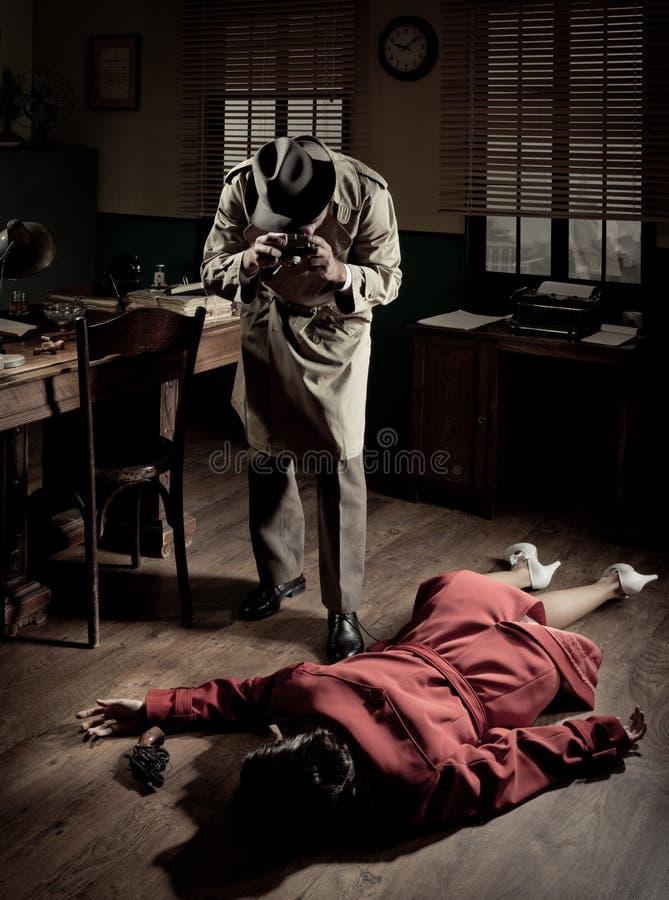 Fotografo sulla scena del crimine fotografia stock