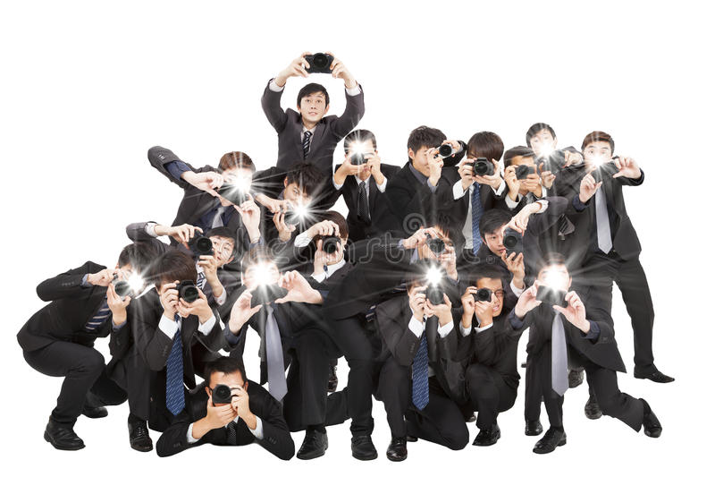 Fotografowie trzyma kamerę wskazuje ty fotografia royalty free