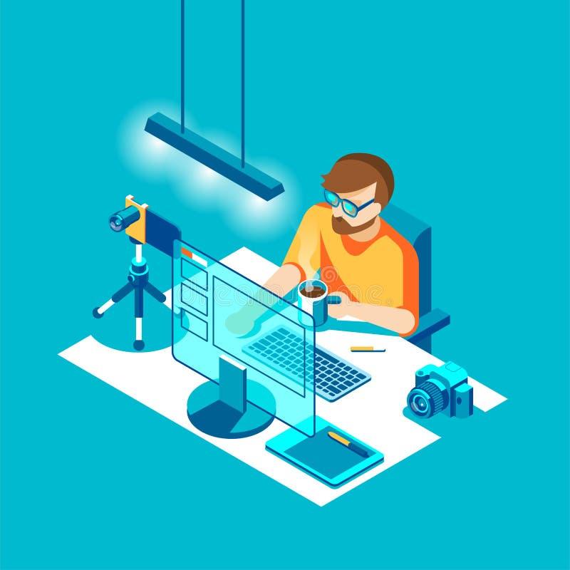 Fotografsammanträde och arbete Tecken, kamera, dator, tabell och olika apparater Isometrisk illustration för vektor vektor illustrationer