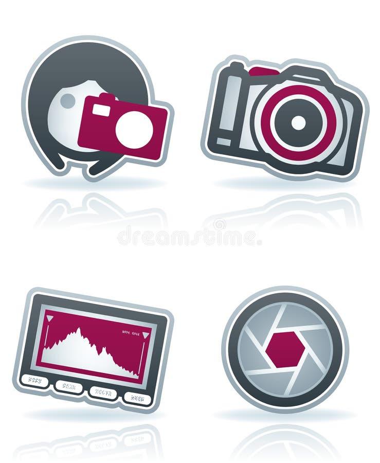 Fotographien-Ikonen eingestellt vektor abbildung