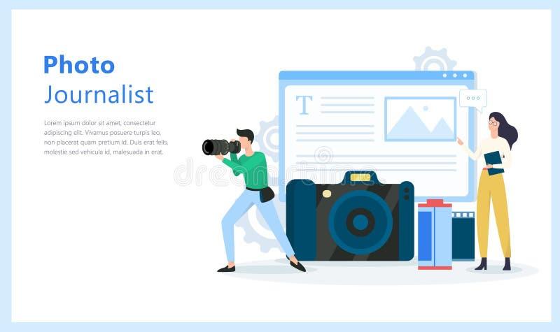 Fotojournalist- eller paparazziockupation Fotograf med kameran royaltyfri illustrationer