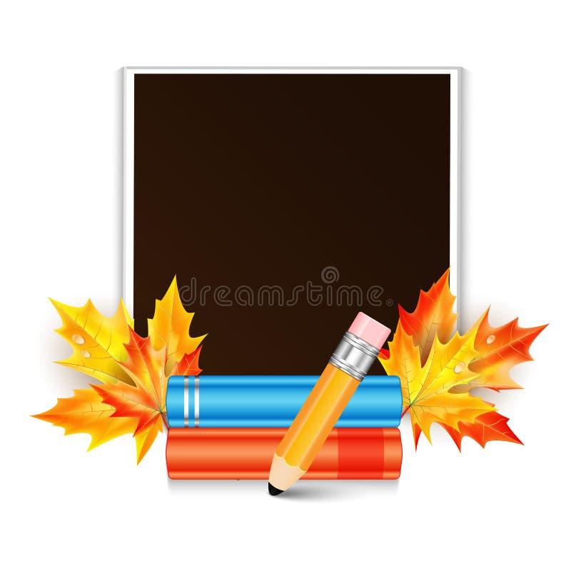 Fotokader en school subjec vector illustratie