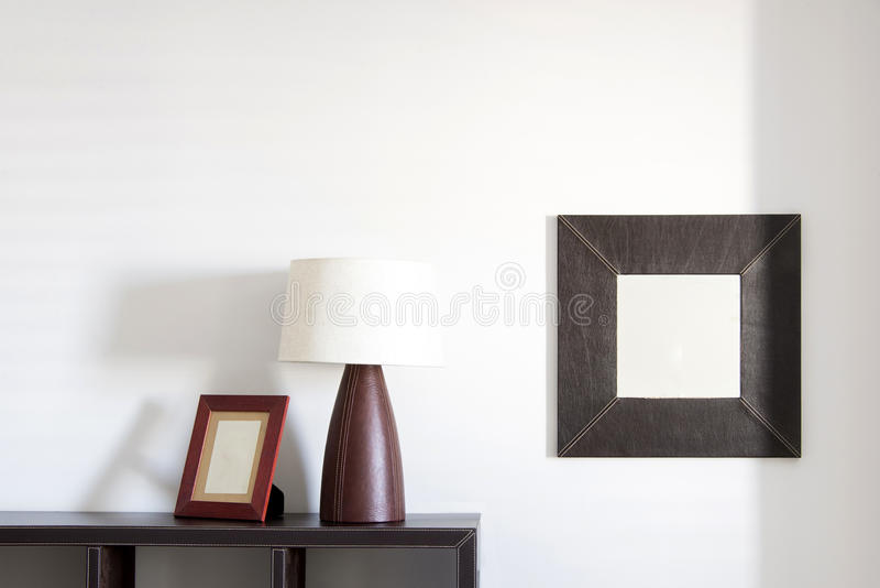 Fotokader, lamp en spiegel royalty-vrije stock foto