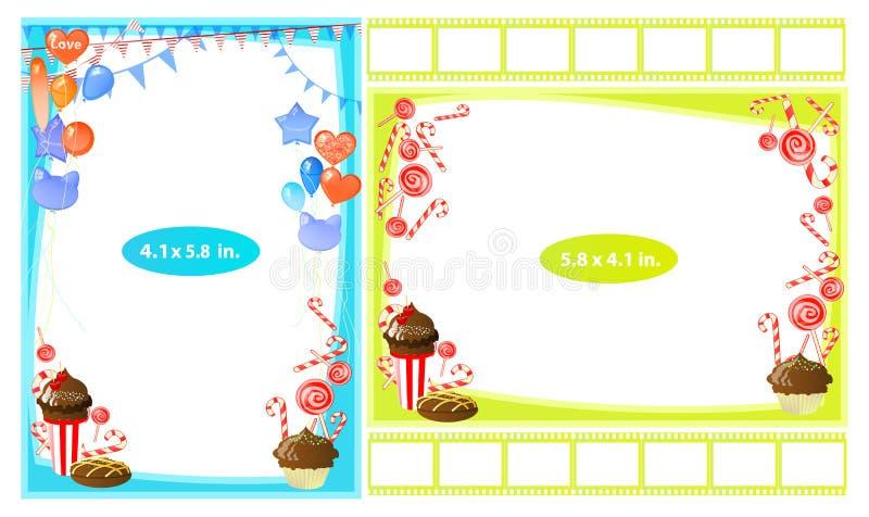 Fotokader met chocoladesnoepje in een glas stock illustratie
