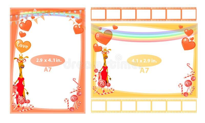Fotokader met girafmeisje en harten a7 royalty-vrije illustratie