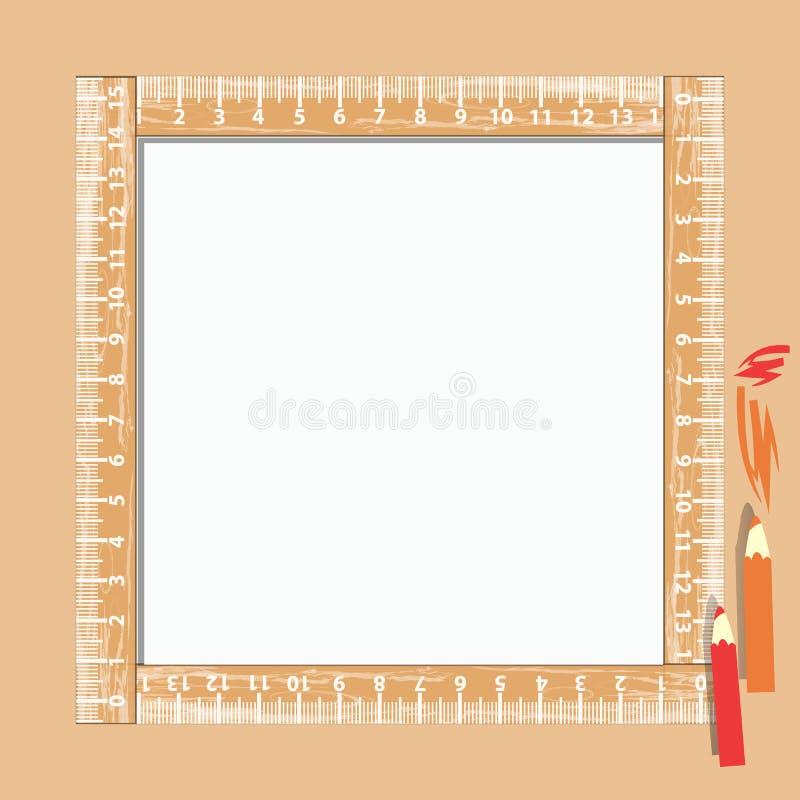 Fotokader met heerser en potloden vierkant stock illustratie
