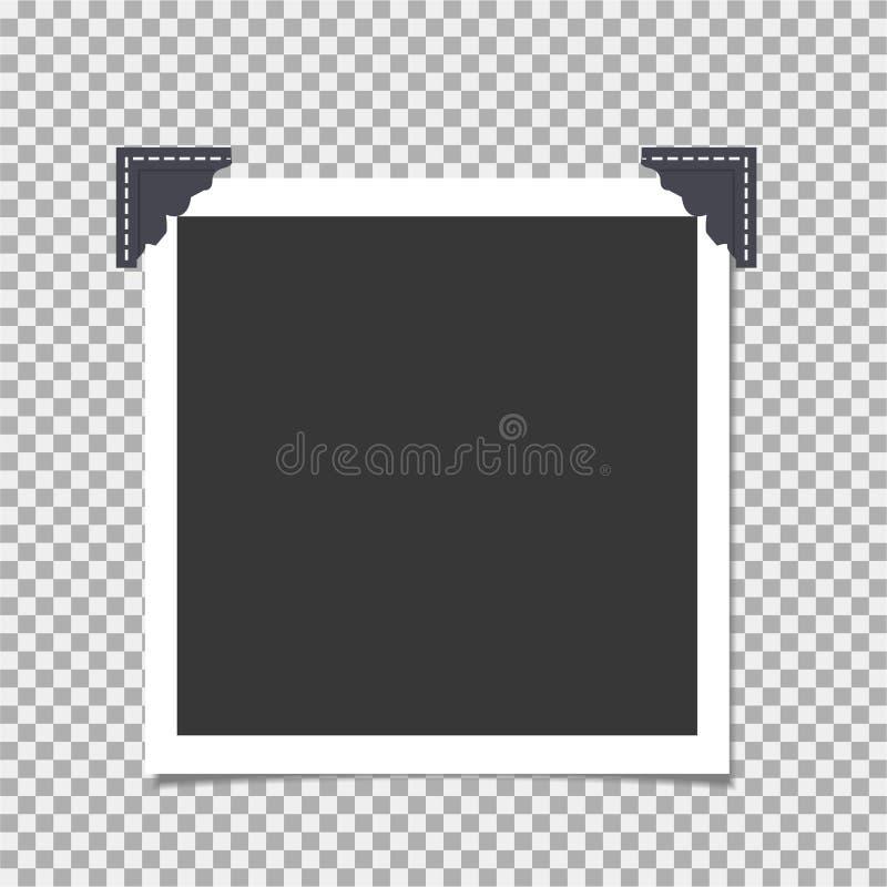 Fotokader met hoek, hoek op isolate achtergrond Malplaatje, spatie voor uw in foto vector illustratie