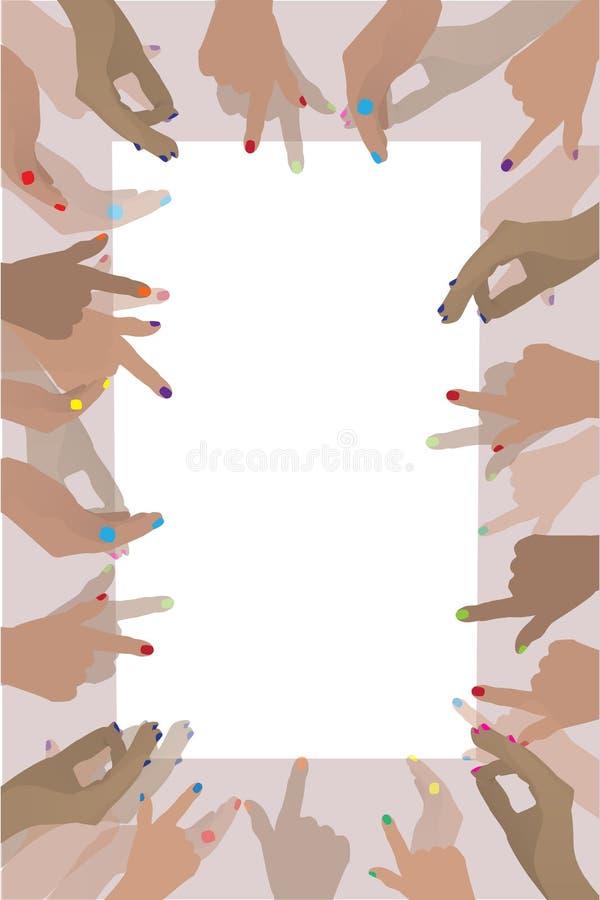 Fotokader met menselijke handen Illustratie stock illustratie