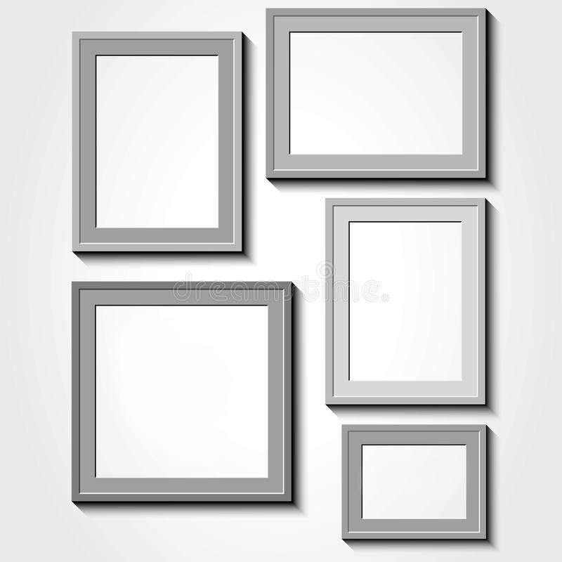 Fotokader met schaduw op een grijze muur stock illustratie