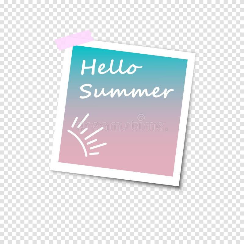 Fotokader met schaduw Retro ontwerp Hello-de zomer vectorillustratie royalty-vrije illustratie