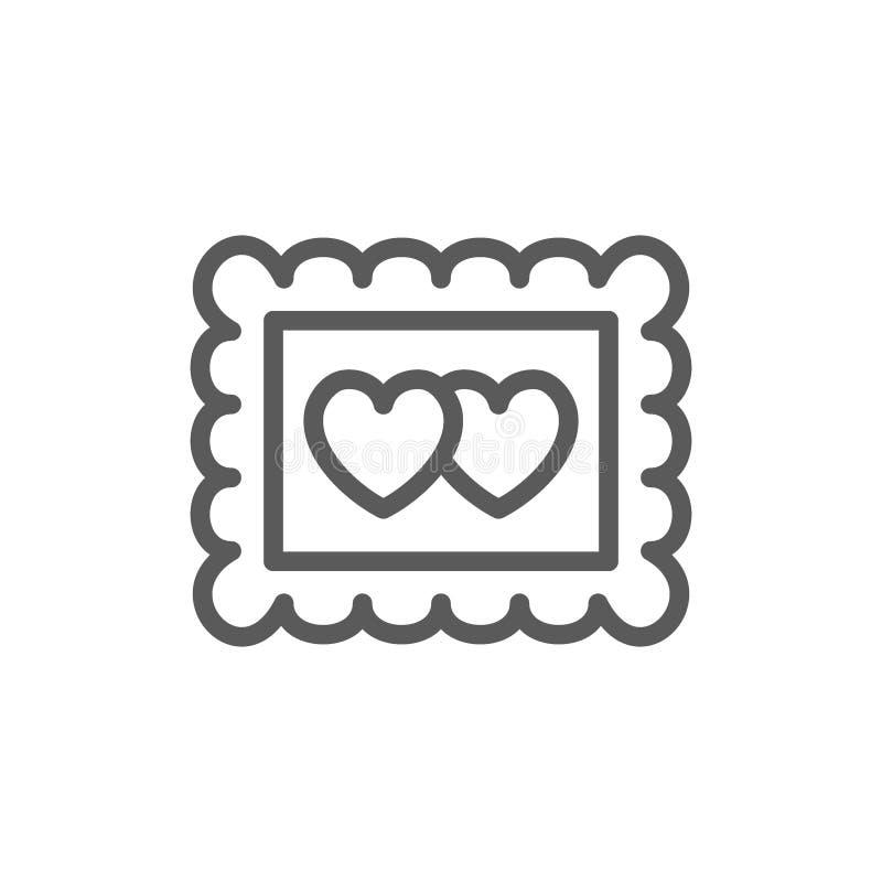 Fotokader met twee harten, de lijnpictogram van de valentijnskaartdag stock illustratie