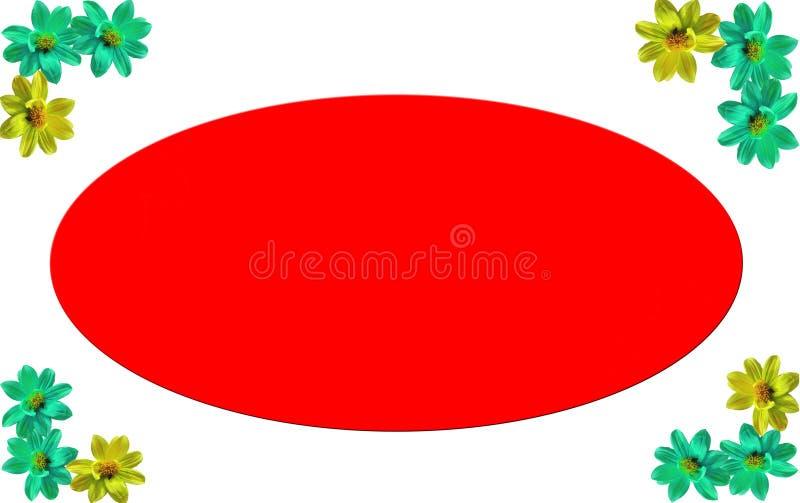 Fotokader met witte achtergrond en kleurrijke bloemen op hoeken met rode gekleurde ruimte stock illustratie
