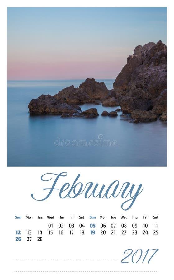 fotokalender 2017 med minimalist landskap februari arkivbilder