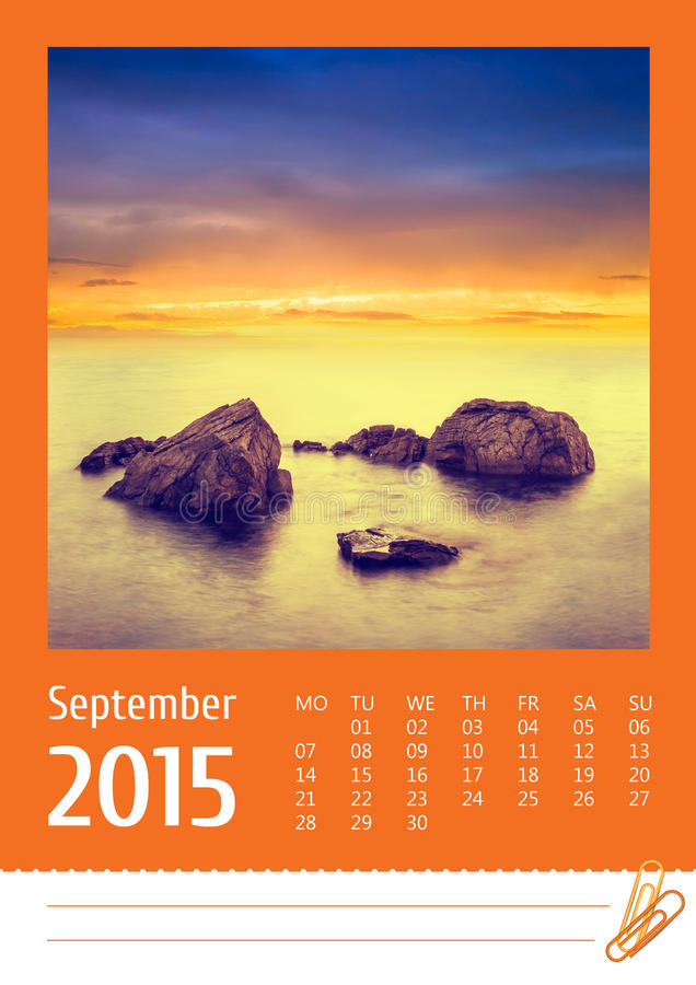 fotokalender 2015 september arkivbild