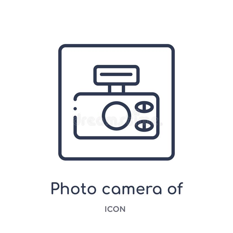 Fotokamera der gerundeten quadratischen Formikone von der Werkzeug- und Gerätentwurfssammlung Dünne Linie Fotokamera des gerundet stock abbildung