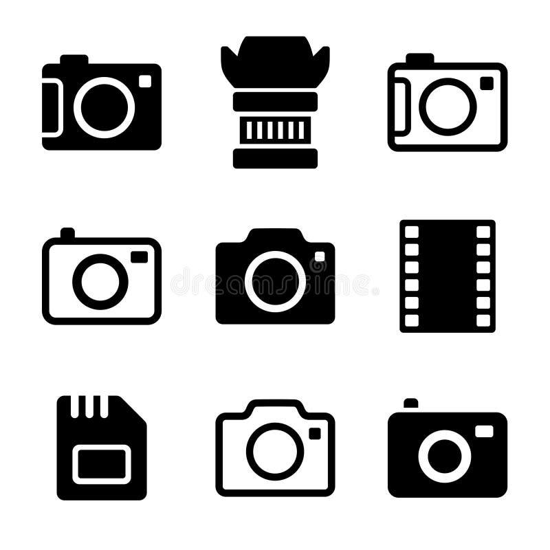 Fotokamera och tillbehörsymbolsuppsättning stock illustrationer