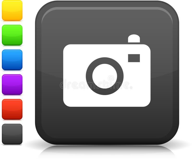 Fotokameraikone auf quadratischer Internet-Taste stock abbildung