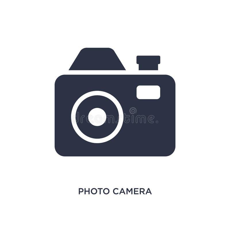 Fotokameraikone auf weißem Hintergrund Einfache Elementillustration von der Musik und von der Werbekonzeption lizenzfreie abbildung