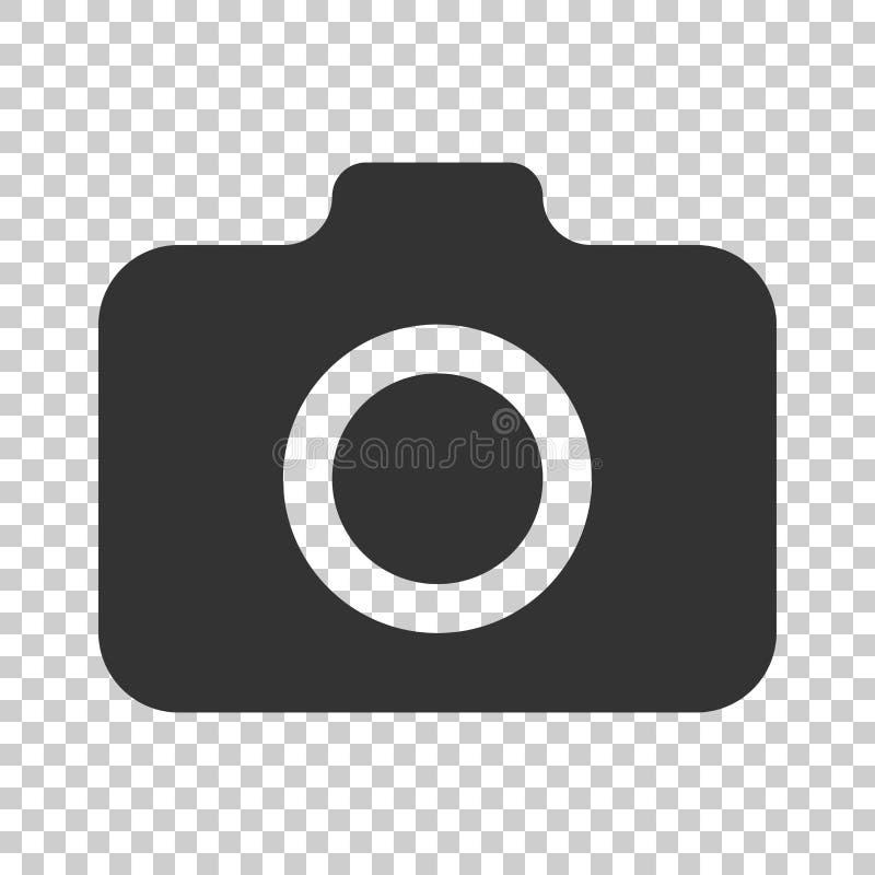 Fotokameraikone in der flachen Art Fotografnocken-Ausrüstung vect lizenzfreie abbildung