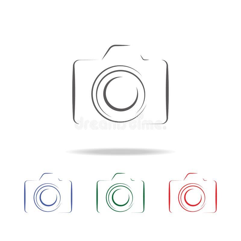 Fotokameraschattenbild-Logoikone Elemente der Fotokamera in den multi farbigen Ikonen Erstklassige Qualitätsgrafikdesignikone Ein lizenzfreie abbildung