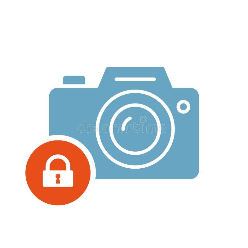 Fotokamerasymbol, teknologisymbol med hänglåstecknet Fotokamerasymbol och säkerhet, skydd, avskildhetssymbol stock illustrationer