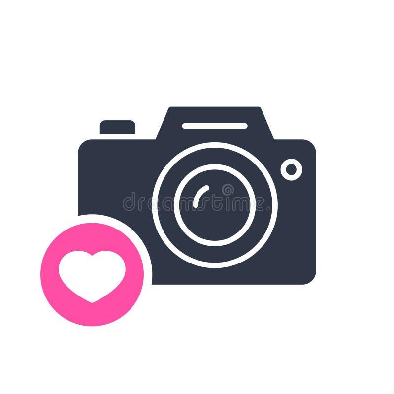 Fotokamerasymbol, teknologisymbol med hjärtatecknet Fotokamerasymbol och favorit, som, förälskelse, omsorgsymbol stock illustrationer
