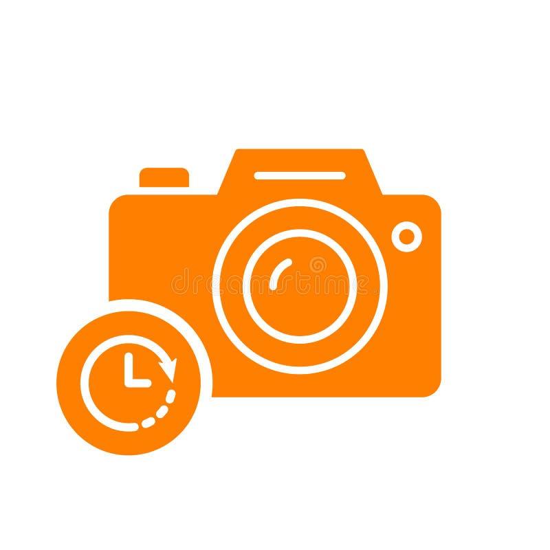 Fotokamerasymbol, teknologisymbol med klockatecknet Fotokamerasymbol och nedräkning, stopptid, schema som planerar symbol vektor illustrationer