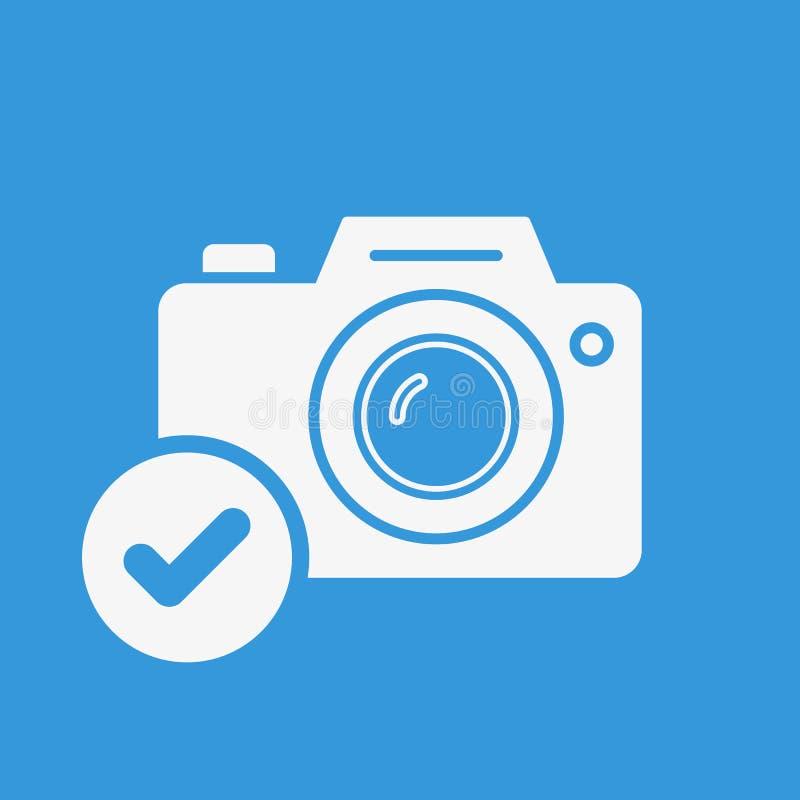Fotokamerasymbol, teknologisymbol med kontrolltecknet Fotokamerasymbolen och godkänt, bekräftar, gjort, fästingen, avslutat symbo stock illustrationer
