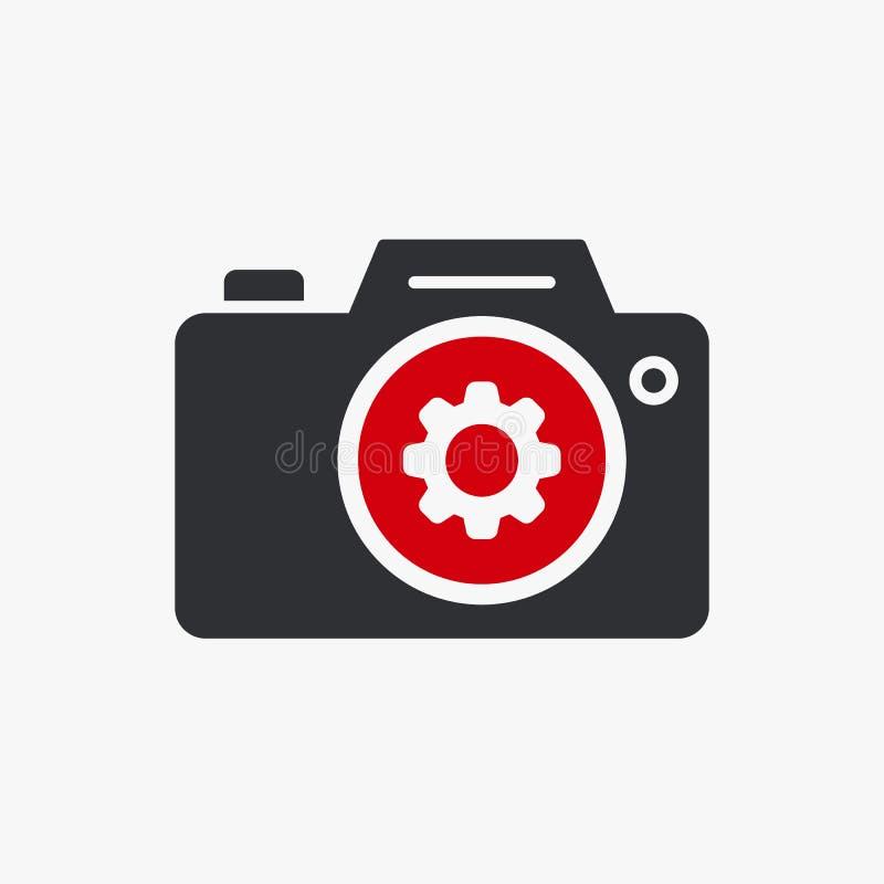 Fotokamerasymbolen, teknologisymbol med inställningar undertecknar Fotokamerasymbolen och skräddarsy, ställde in, klarar av, bear royaltyfri illustrationer
