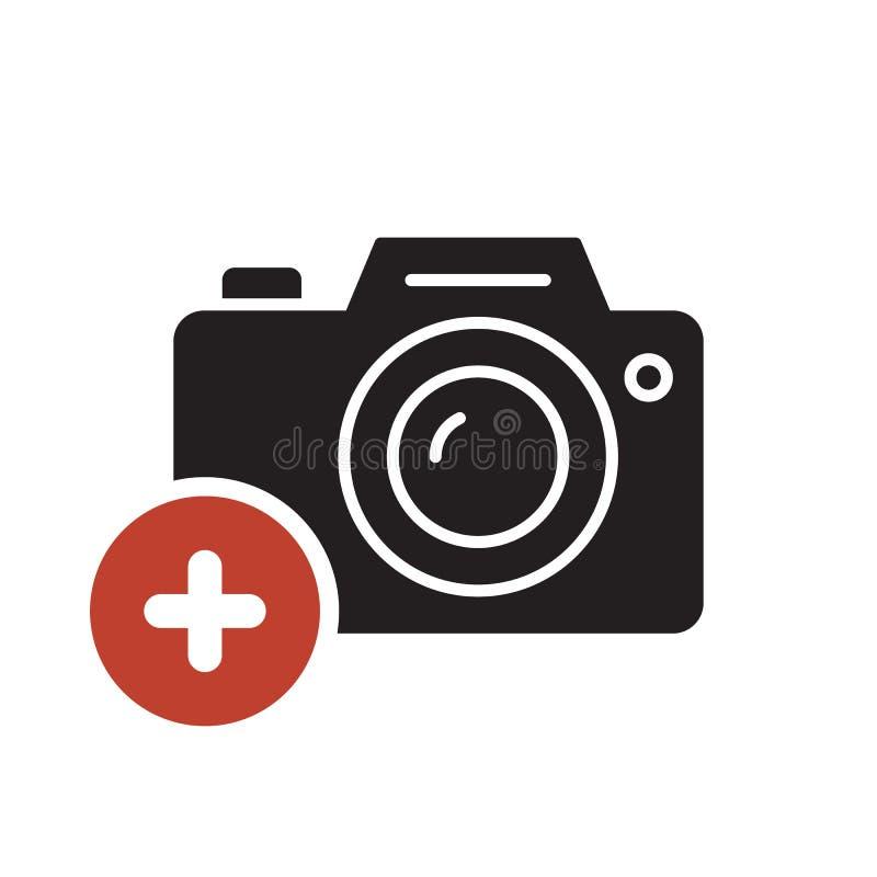 Fotokamerasymbolen, teknologisymbol med tillfogar tecknet Fotokamerasymbol och nytt, plus, positivt symbol vektor illustrationer
