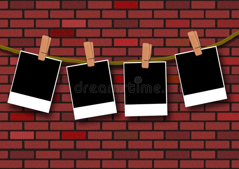 Fotomall på tegelstenväggen stock illustrationer