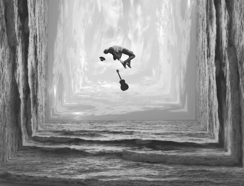 Fotomanipulatie in zwart-wit van een langs geïnspireerde musicus vector illustratie