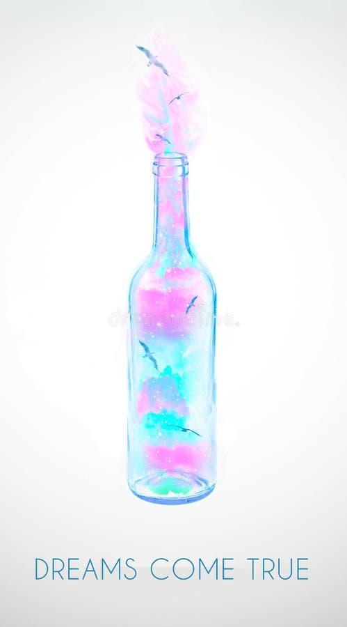 Fotomanipulation von Vögeln in der Weinflasche, Traumkonzept mit Text stockfotografie