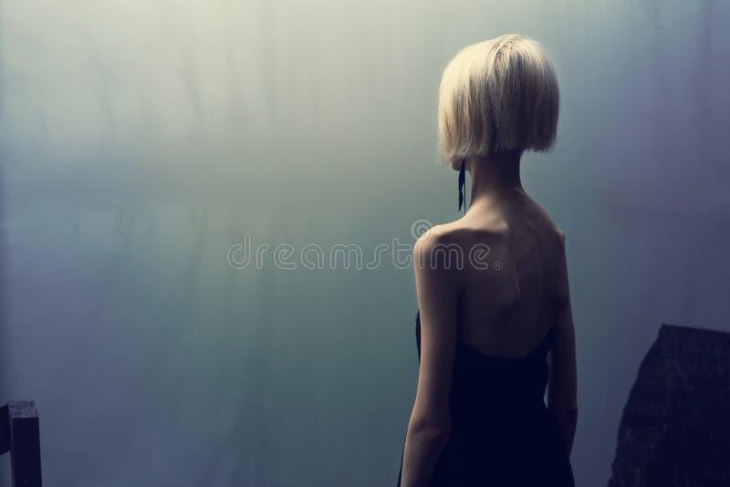 Fotoperiod vid sjön på en dimmig dag i skogen, mager flicka i svart klänning arkivfoto